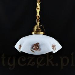 Lampa wisząca w typie rustykalnym z pierwszej połowy XX wieku