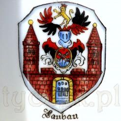 Malowany ręcznie herb dawnego LAUBAn dziś Lubań na Dolnym Śląsku