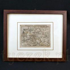Miniaturowa mapa północnej części Francji po roku 1600.