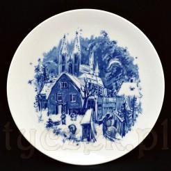 Piękny pejzaż zimowy na luksusowym talerzu Meissen