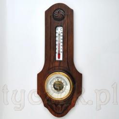 Eklektyczny barometr z termometrem w dębowej obudowie