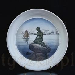 Głęboki talerz z białej porcelany z ręczną malaturą