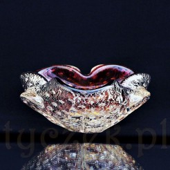 Pięknie gięte weneckie szkło - paterka z niewielkimi uchwytami