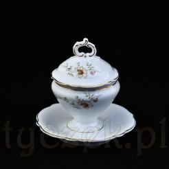 Porcelanowa musztardniczka z końca XIX wieku