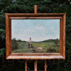 Duży obraz namalowany farbami olejnymi z widocznymi pociągnięciami pędzla na płycie malarskiej ukazuje scenkę myśliwską