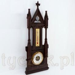 Neogotycki barometr z termometrem w rzeźbionej obudowie z drewna