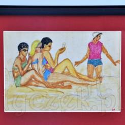 Znakomite humorystyczne przedstawienie plażowiczów na barwnym szkicu