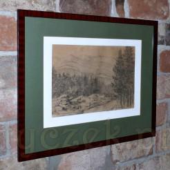 pełen spokoju i harmonii ołówkowy szkic z widokiem na świerkowy las.