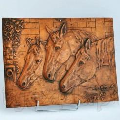 Trzy konie przy wodopoju- plakieta miedziana