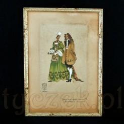 Obrazek ujęto w drewnianą ramkę listwową.