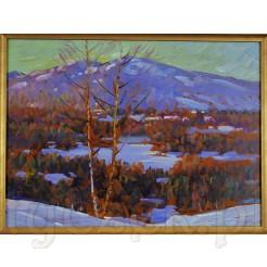 Dekoracyjny obraz malowany farbami olejnymi na desce.