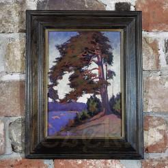 Impresjonistyczny pejzaż malowany farbami olejnymi na płótnie.