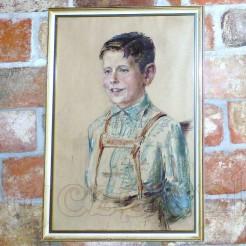 Portret chłopca w bawarskim ubranku.