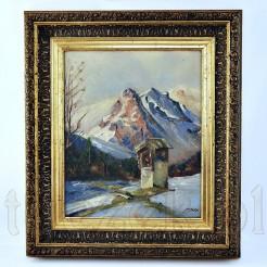 Obraz ukazujący kapliczkę na tle górskiego krajobrazu