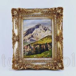 Świetnie zachowany górski pejzaż w stylowej złoconej ramie