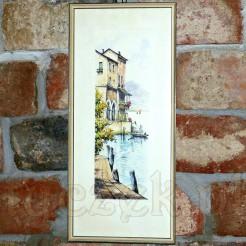 Barwna litografia z widokiem na włoską osadę portową.