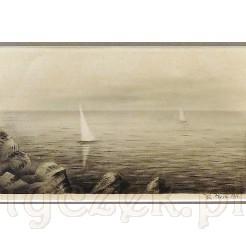 Sygnowana, horyzontalna grafika wykonana w technice litografii.
