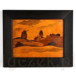 intarsjowany obraz przedstawiający pejzaż wiejski