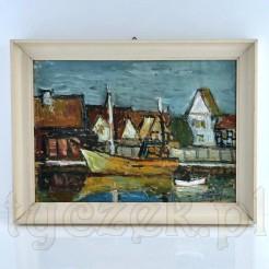 sygnowany obraz z widokiem na domki i łódkę