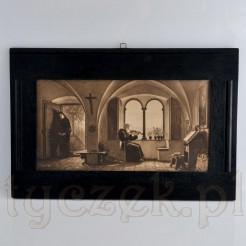 mistyczna ilustracja zakonników w pięknej czernionej ramie