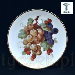 Śląski talerzyk ozdobny z motywem winogron i poziomek