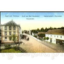 Okazały gmach hotelu oraz gospoda i dom zdrojowy w Opolnie Zdrój