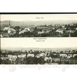 Panorama Opolna Zdrój- widok na część górną i dolną wsi z widokiem na Kościół