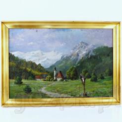 Obraz ukazujący alpejską wioskę na tle górskiego krajobrazu