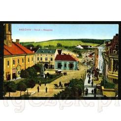 Kolorowa pocztówka przedstawiająca centrum miasta Brzeżany- Rynek (Ringplatz)
