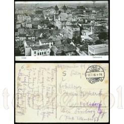 Pamiątkowa kartka pocztowa przedstawiająca panoramę Leszna (niem. Lissa). Kartka została nadana w 1916 r.