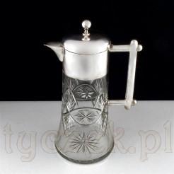 Finezyjny i pokaźny dzban z kryształowego szkła w srebrnej oprawie
