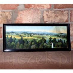 Pokaźnych rozmiarów panorama z widokiem na Jelenią Górę i pasmo Karkonoszy.