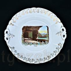 Śląska porcelana ozdobiona widokiem szwajcarskiej arkady górskiej