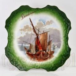 wyjątkowy talerz dekoracyjny ze starej porcelany z motywem statku