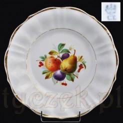Śląski talerz z XIX wieku ręcznie malowany motywem owoców