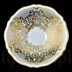 Mieniące się pod światłem polerowane złocenia na porcelanie Rosenthal