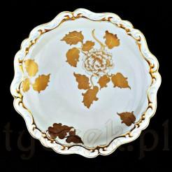 Patera porcelanowa z pięknymi złoceniami sygnowana SORAU Handarbeit