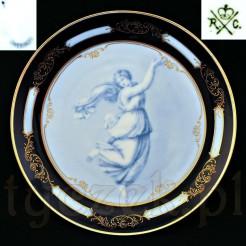 Nawiązujący do starożytności kobaltowy talerz marki Rosenthal