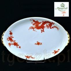 Okazały półmisek z czerwonym smokiem na białej porcelanie