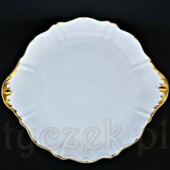Biało-złota porcelanowa patera do ciast i owoców