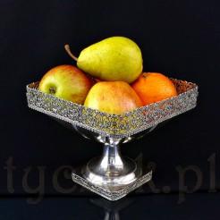 Ekskluzywna patera srebrna na owoce i słodkości