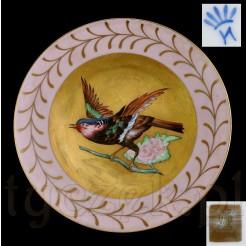 Znakomity motyw ptaka na gałązce - malowana porcelana Bavaria