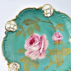 Porcelanowa paterka z motywem róży