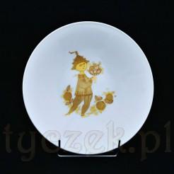 Talerz z dekoracją w czterech kolorach złota