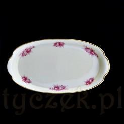 Wyrób z kremowej porcelany Rosenthal z profilowanym, złoconym brzegiem znakomity do serwowania drobnych przekąsek