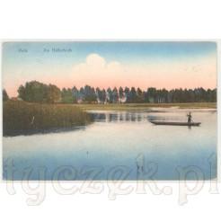 Kolorowa kartka pocztowa przedstawiająca rybaka na długiej, drewnianej łodzi na stawach rybnych w miejscowości Peitz