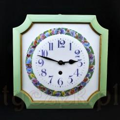 Wyjątkowo piękny zegar emaliowany w drewnianej ramie i oudowie malowanej na kolor miętowo-seledynowy