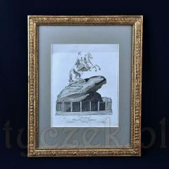 Wzorcowe przedstawienie Piotra I Wielkiego na koniu będące wiernym odzwierciedleniem słynnego petersburskiego pomnika, który znajduje się na Placu Senackim