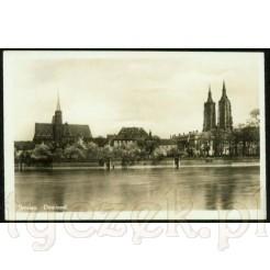 Zabytkowa karta pocztowa z Breslau - Wrocław widok z nad Odry