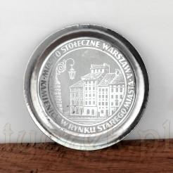 Metalowa podkładka pod szklankę z okresu PRL.